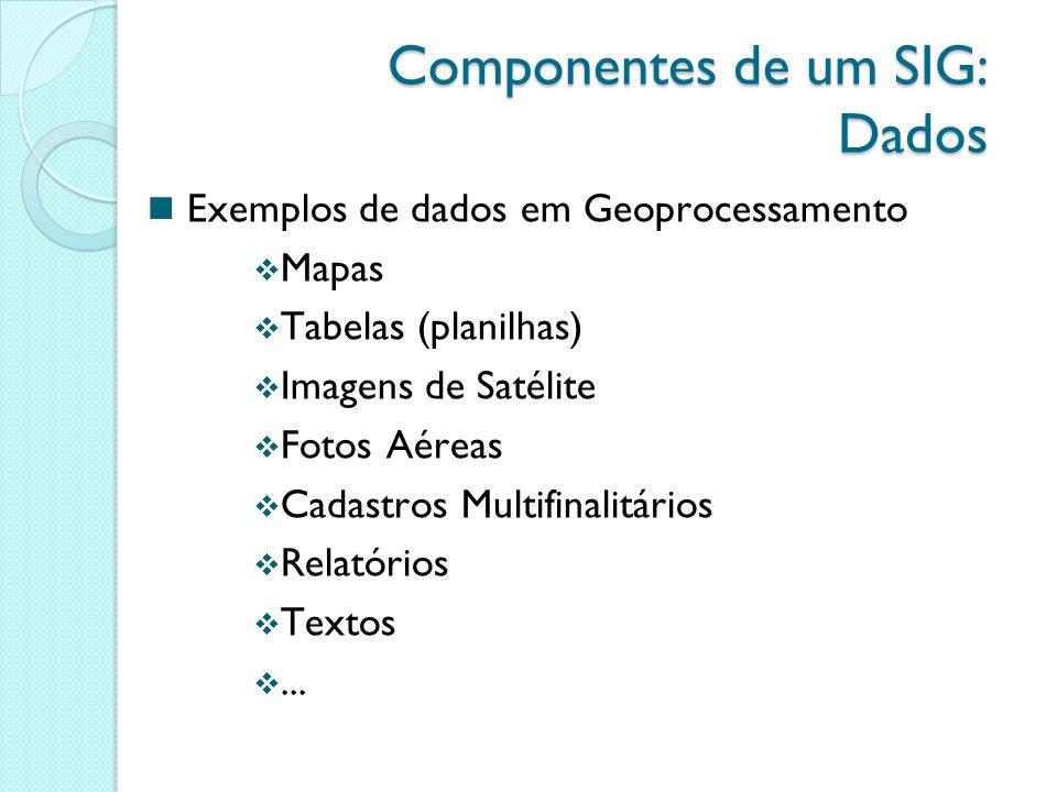 Exemplos de dados em Geoprocessamento Mapas Tabelas (planilhas) Imagens de Satélite Fotos Aéreas Cadastros Multifinalitários Relatórios Textos...