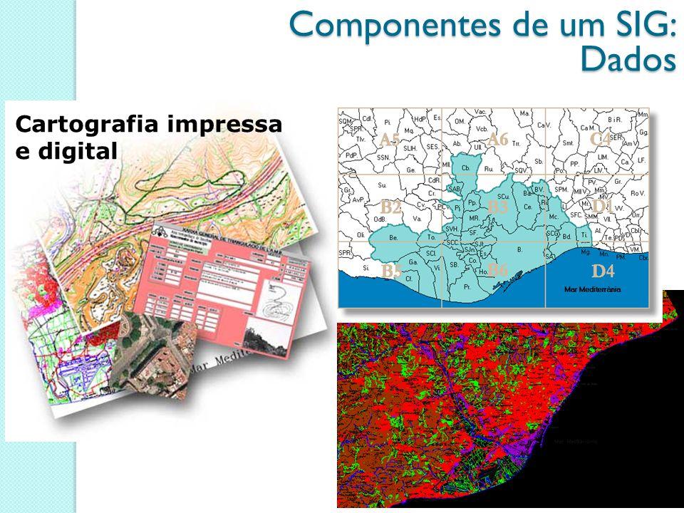Cartografia impressa e digital Componentes de um SIG: Dados