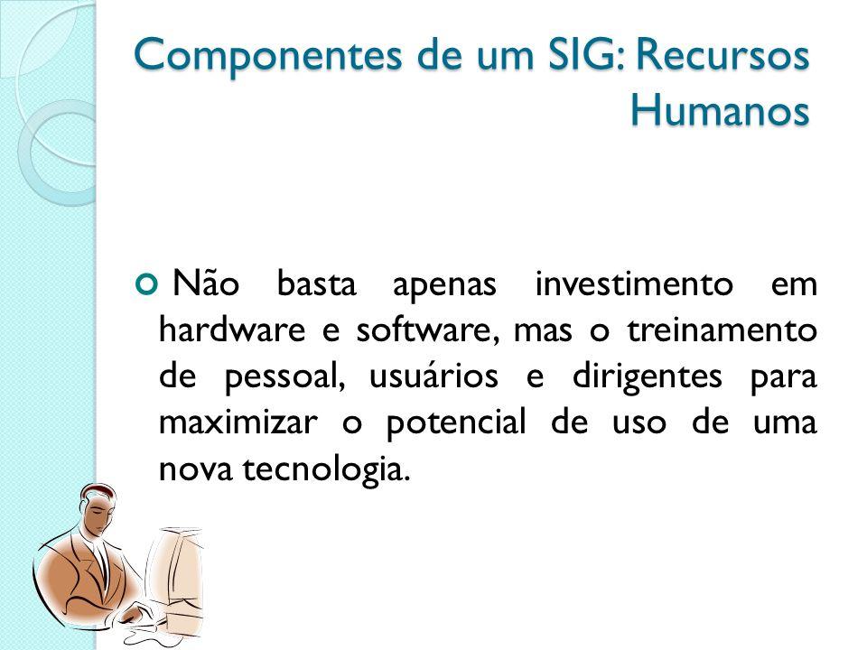 Componentes de um SIG: Recursos Humanos Não basta apenas investimento em hardware e software, mas o treinamento de pessoal, usuários e dirigentes para maximizar o potencial de uso de uma nova tecnologia.