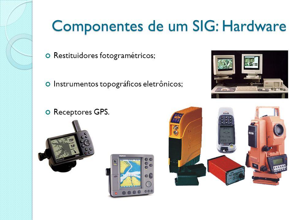 Restituidores fotogramétricos; Instrumentos topográficos eletrônicos; Receptores GPS. Componentes de um SIG: Hardware