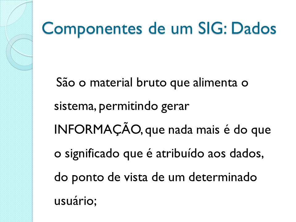 Componentes de um SIG: Dados São o material bruto que alimenta o sistema, permitindo gerar INFORMAÇÃO, que nada mais é do que o significado que é atribuído aos dados, do ponto de vista de um determinado usuário;