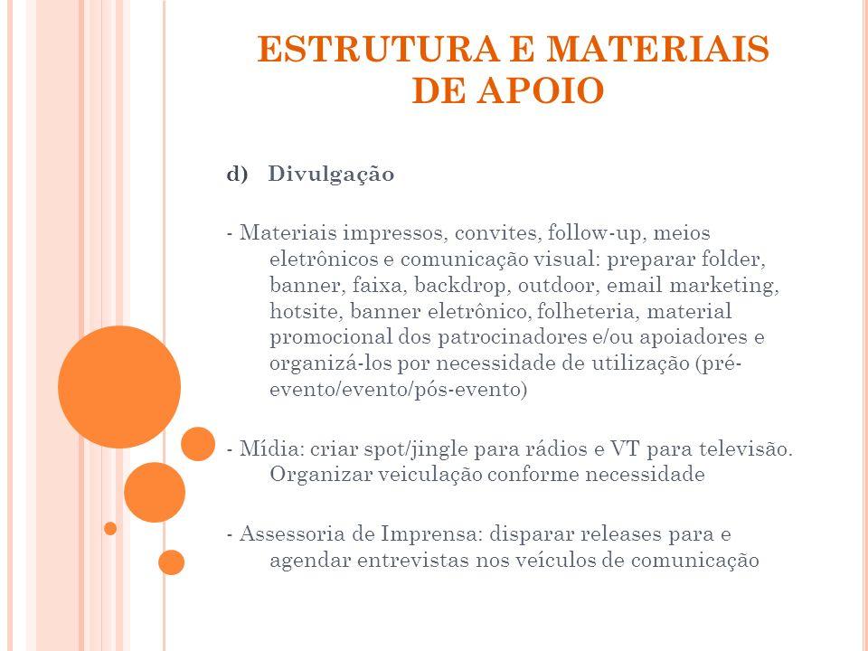 ESTRUTURA E MATERIAIS DE APOIO d) Divulgação - Materiais impressos, convites, follow-up, meios eletrônicos e comunicação visual: preparar folder, bann