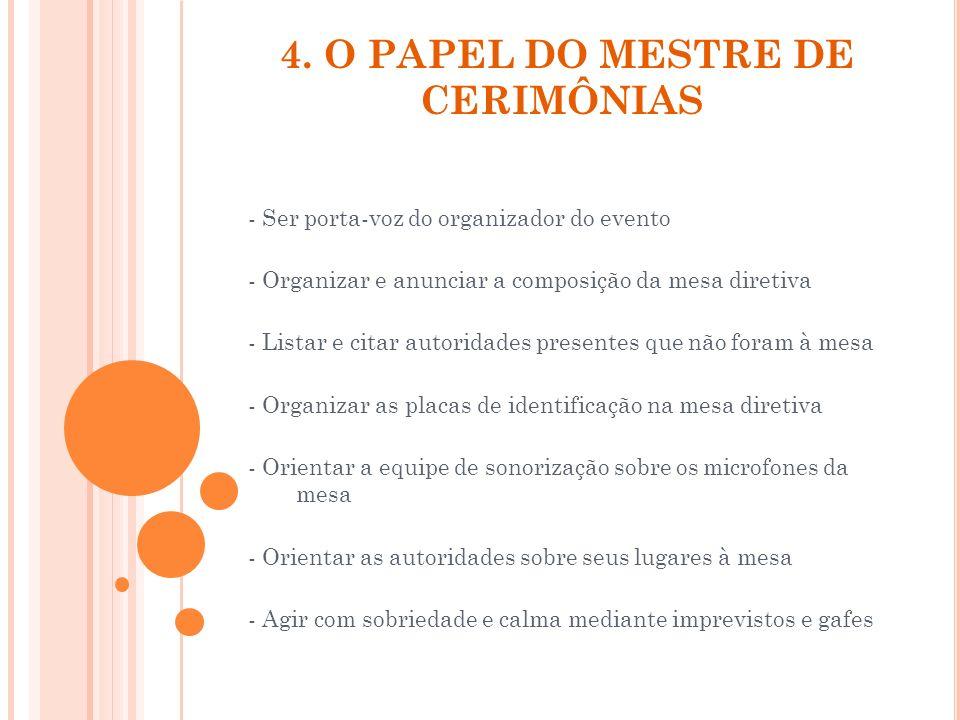 4. O PAPEL DO MESTRE DE CERIMÔNIAS - Ser porta-voz do organizador do evento - Organizar e anunciar a composição da mesa diretiva - Listar e citar auto