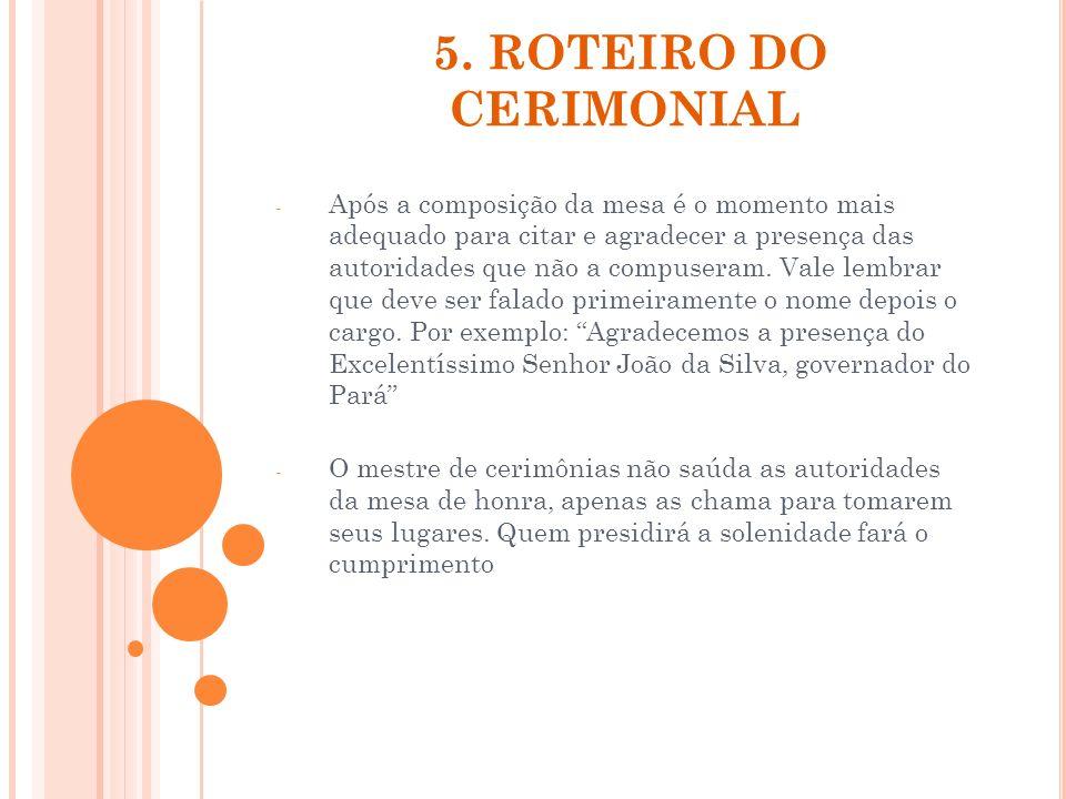 5. ROTEIRO DO CERIMONIAL - Após a composição da mesa é o momento mais adequado para citar e agradecer a presença das autoridades que não a compuseram.