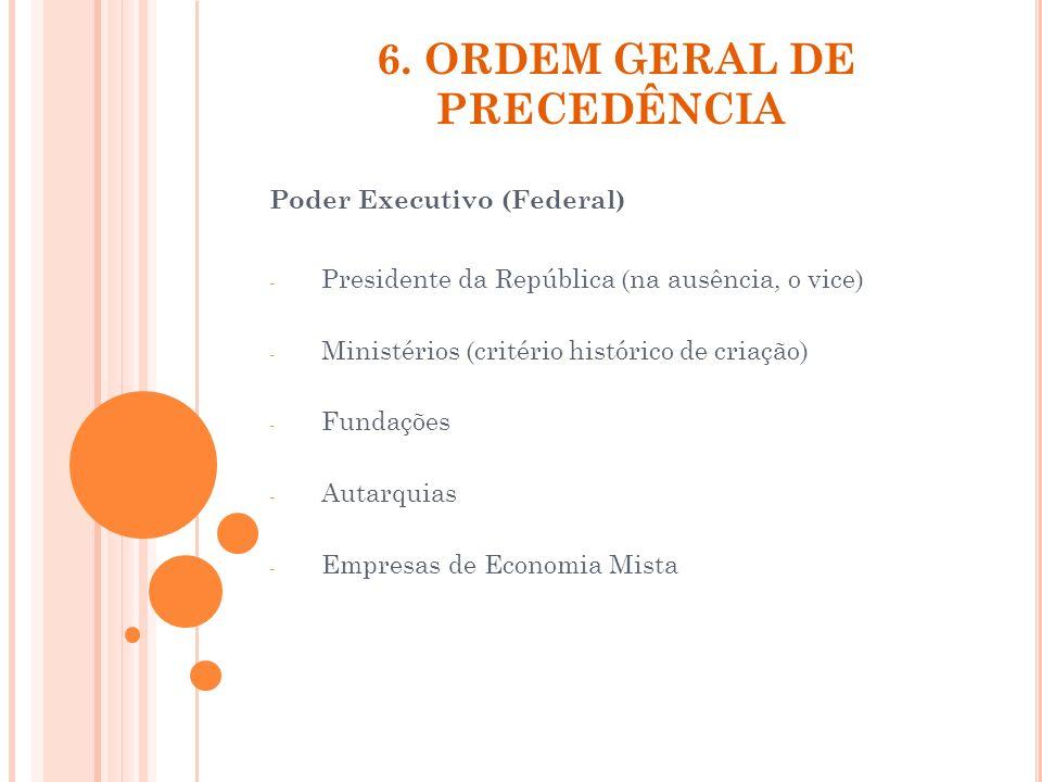 6. ORDEM GERAL DE PRECEDÊNCIA Poder Executivo (Federal) - Presidente da República (na ausência, o vice) - Ministérios (critério histórico de criação)