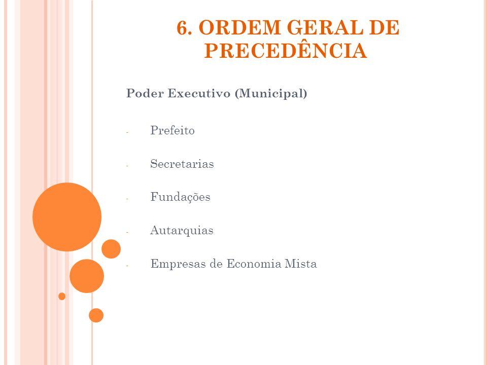 6. ORDEM GERAL DE PRECEDÊNCIA Poder Executivo (Municipal) - Prefeito - Secretarias - Fundações - Autarquias - Empresas de Economia Mista