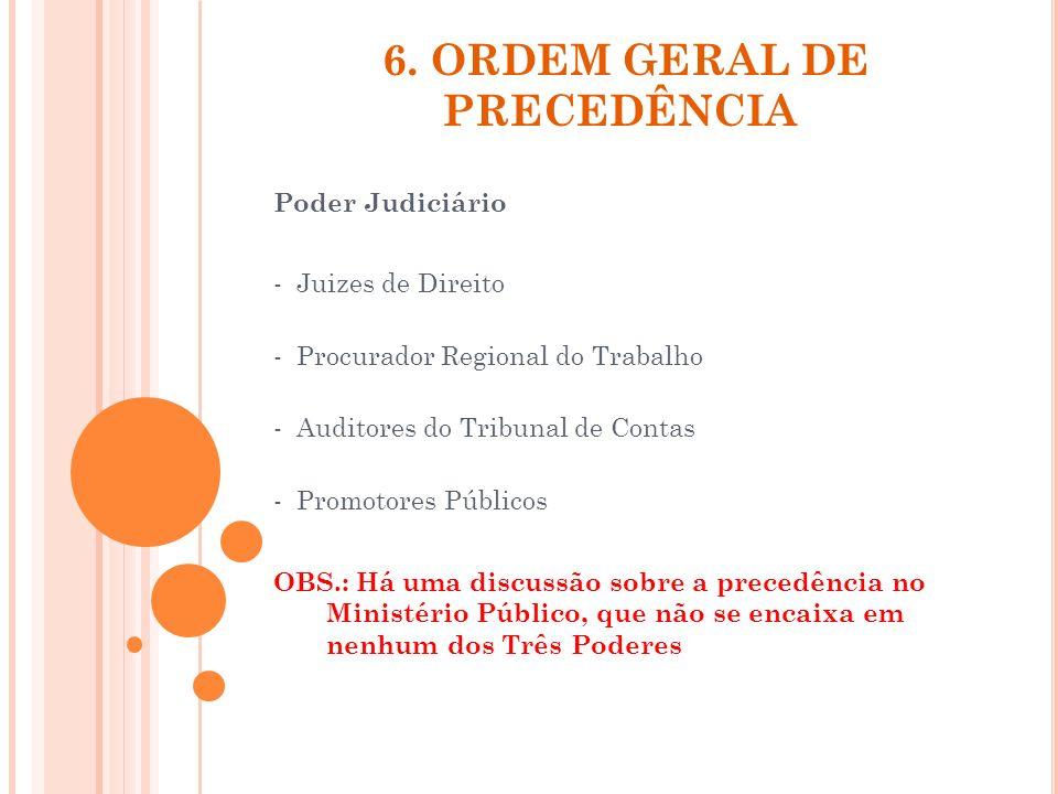 6. ORDEM GERAL DE PRECEDÊNCIA Poder Judiciário - Juizes de Direito - Procurador Regional do Trabalho - Auditores do Tribunal de Contas - Promotores Pú