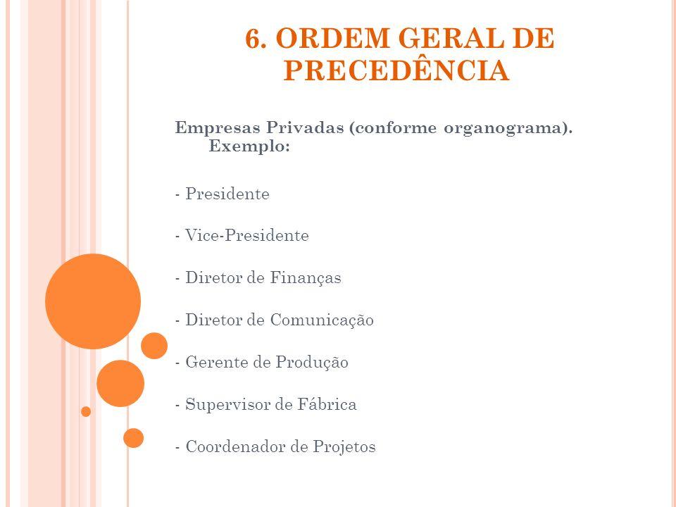 6. ORDEM GERAL DE PRECEDÊNCIA Empresas Privadas (conforme organograma). Exemplo: - Presidente - Vice-Presidente - Diretor de Finanças - Diretor de Com