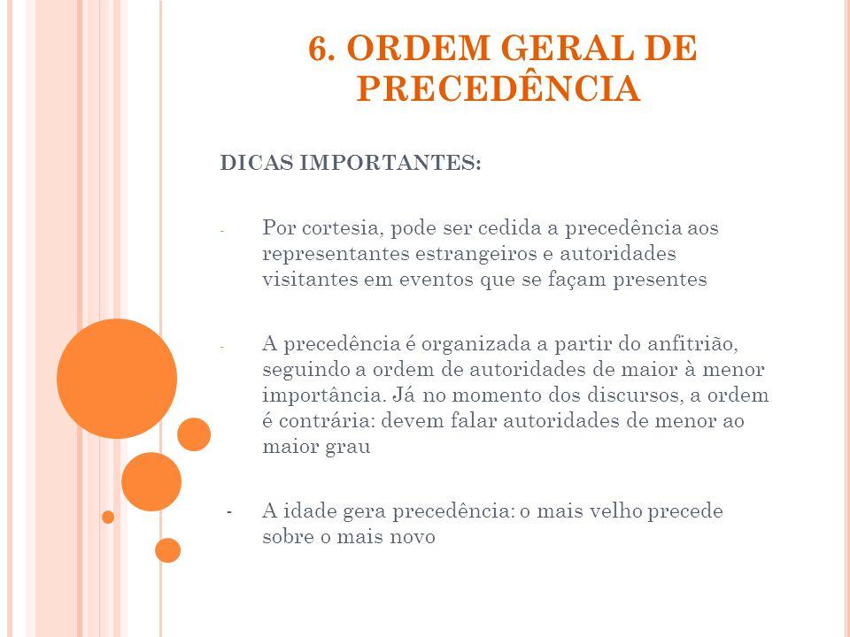 6. ORDEM GERAL DE PRECEDÊNCIA DICAS IMPORTANTES: - Por cortesia, pode ser cedida a precedência aos representantes estrangeiros e autoridades visitante