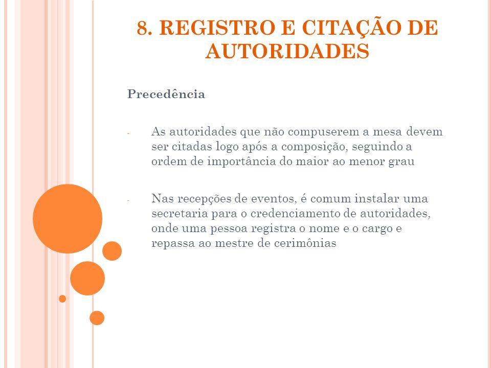 8. REGISTRO E CITAÇÃO DE AUTORIDADES Precedência - As autoridades que não compuserem a mesa devem ser citadas logo após a composição, seguindo a ordem