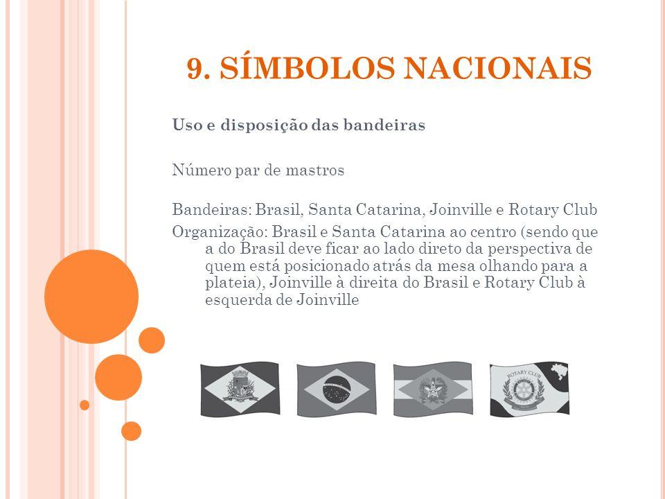 9. SÍMBOLOS NACIONAIS Uso e disposição das bandeiras Número par de mastros Bandeiras: Brasil, Santa Catarina, Joinville e Rotary Club Organização: Bra
