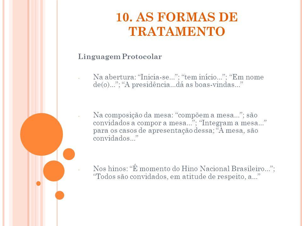 10. AS FORMAS DE TRATAMENTO Linguagem Protocolar - Na abertura: Inicia-se...; tem início...; Em nome de(o)...; A presidência...dá as boas-vindas... -