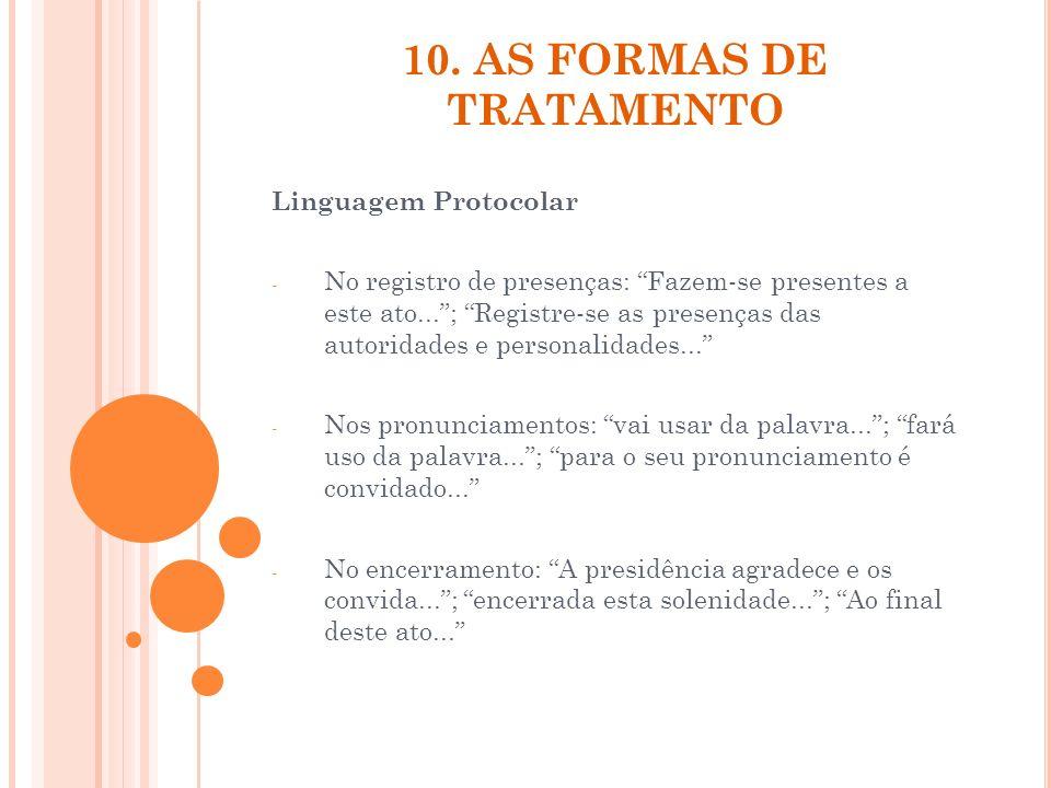 10. AS FORMAS DE TRATAMENTO Linguagem Protocolar - No registro de presenças: Fazem-se presentes a este ato...; Registre-se as presenças das autoridade