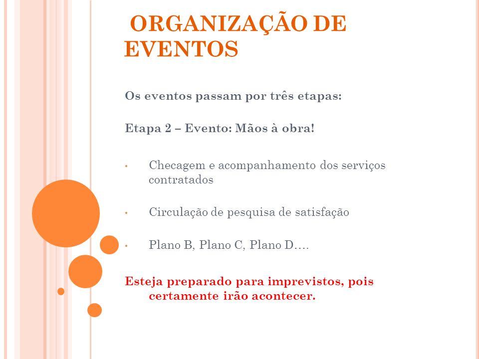 ORGANIZAÇÃO DE EVENTOS Os eventos passam por três etapas: Etapa 2 – Evento: Mãos à obra! Checagem e acompanhamento dos serviços contratados Circulação