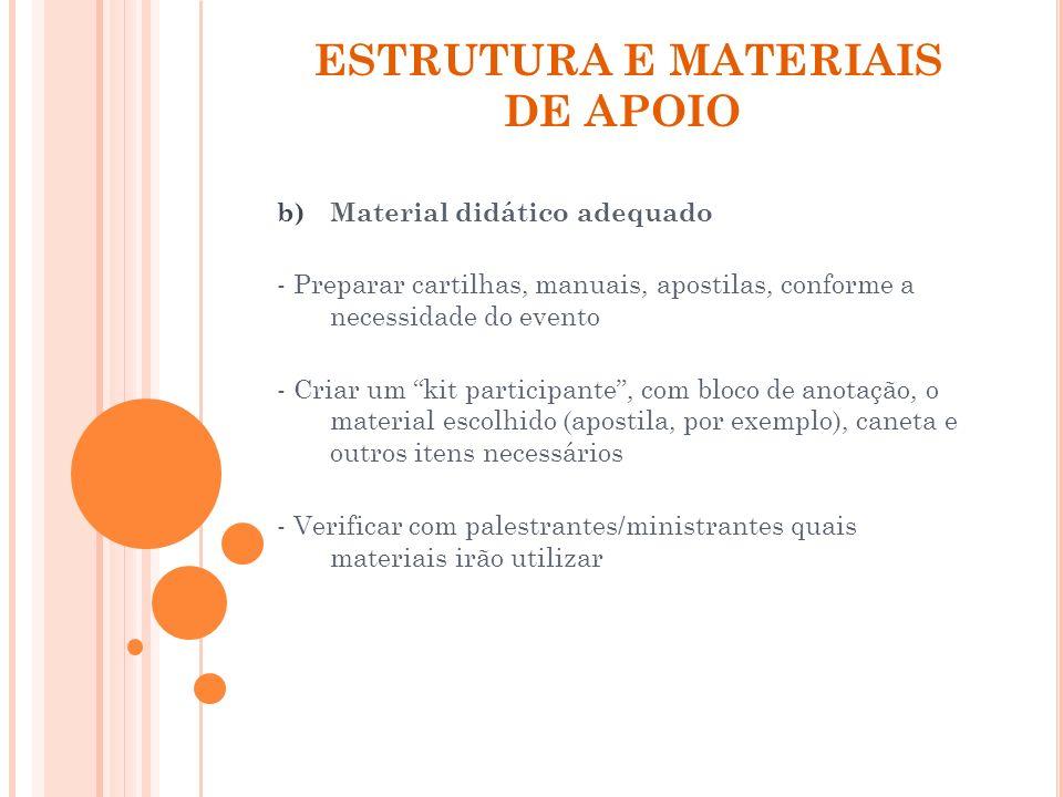 ESTRUTURA E MATERIAIS DE APOIO b)Material didático adequado - Preparar cartilhas, manuais, apostilas, conforme a necessidade do evento - Criar um kit