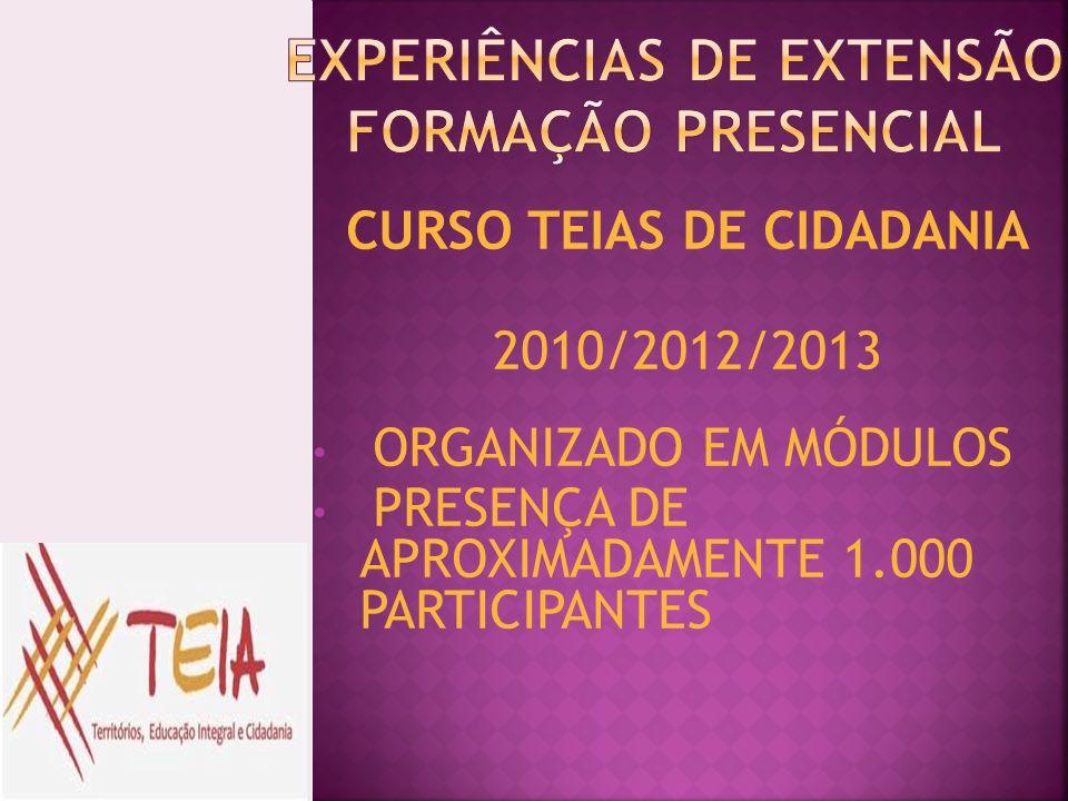 CURSO TEIAS DE CIDADANIA 2010/2012/2013 ORGANIZADO EM MÓDULOS PRESENÇA DE APROXIMADAMENTE 1.000 PARTICIPANTES