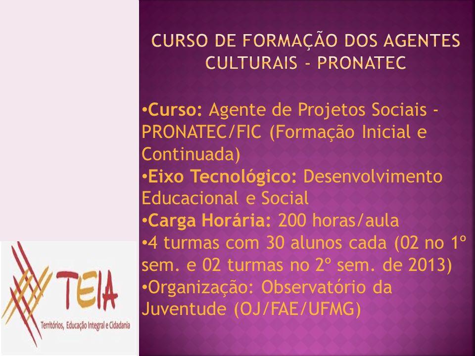Curso: Agente de Projetos Sociais - PRONATEC/FIC (Formação Inicial e Continuada) Eixo Tecnológico: Desenvolvimento Educacional e Social Carga Horária: