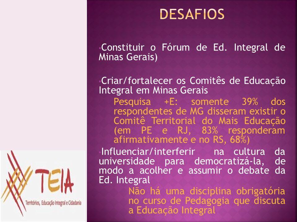 Constituir o Fórum de Ed. Integral de Minas Gerais) Criar/fortalecer os Comitês de Educação Integral em Minas Gerais Pesquisa +E: somente 39% dos resp