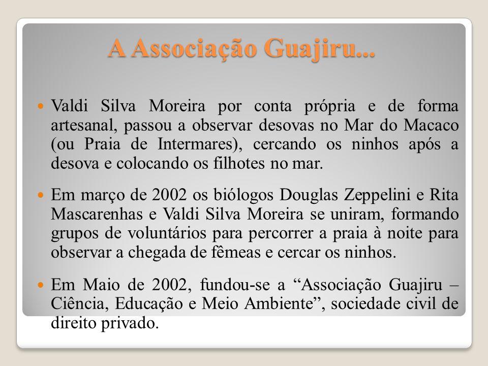 A Associação Guajiru... Valdi Silva Moreira por conta própria e de forma artesanal, passou a observar desovas no Mar do Macaco (ou Praia de Intermares