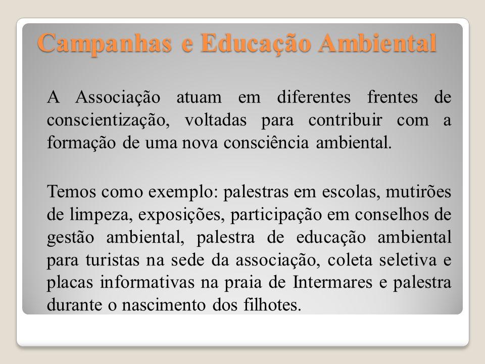 Campanhas e Educação Ambiental Campanhas e Educação Ambiental A Associação atuam em diferentes frentes de conscientização, voltadas para contribuir co