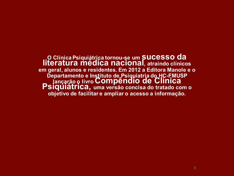 5 5 O Clínica Psiquiátrica tornou-se um sucesso da literatura médica nacional, atraindo clínicos em geral, alunos e residentes. Em 2012 a Editora Mano