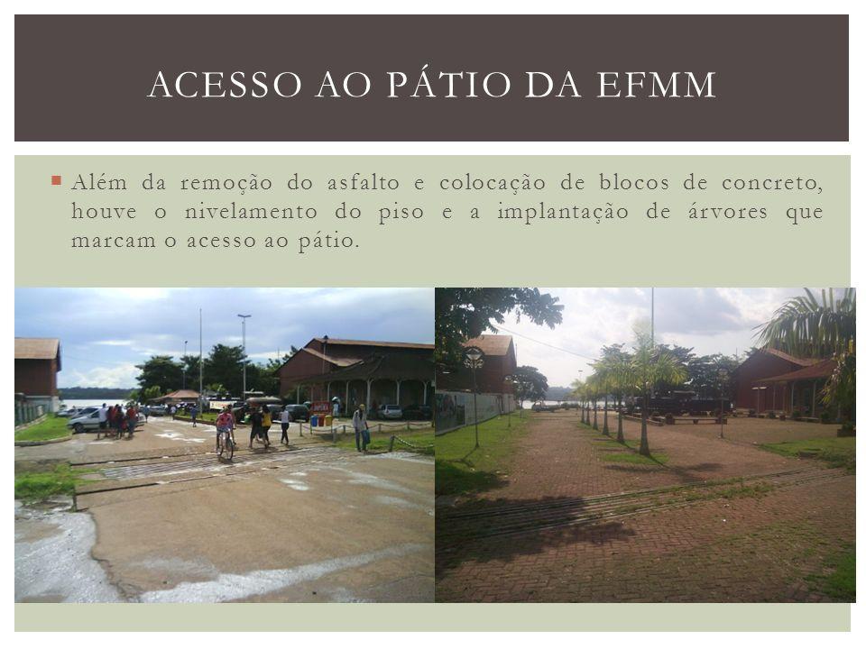 Além da remoção do asfalto e colocação de blocos de concreto, houve o nivelamento do piso e a implantação de árvores que marcam o acesso ao pátio. ACE