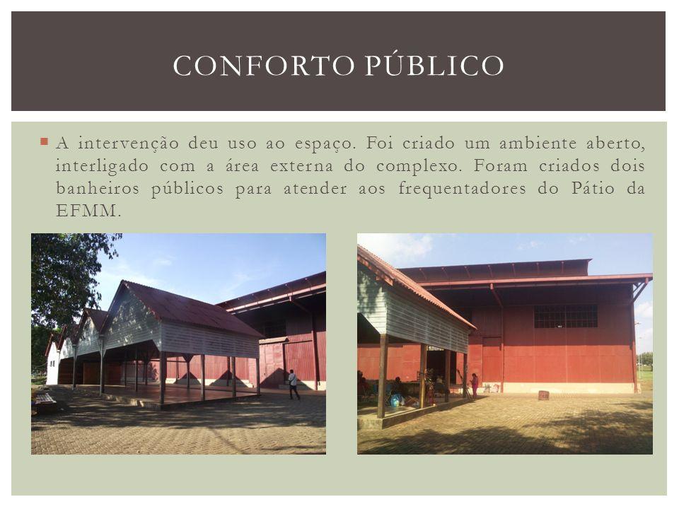 A intervenção deu uso ao espaço. Foi criado um ambiente aberto, interligado com a área externa do complexo. Foram criados dois banheiros públicos para