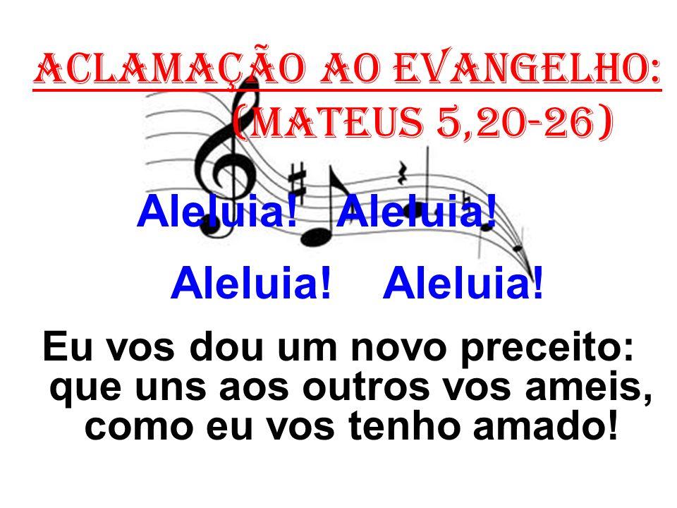 ACLAMAÇÃO AO EVANGELHO: (Mateus 5,20-26) Aleluia.Aleluia.