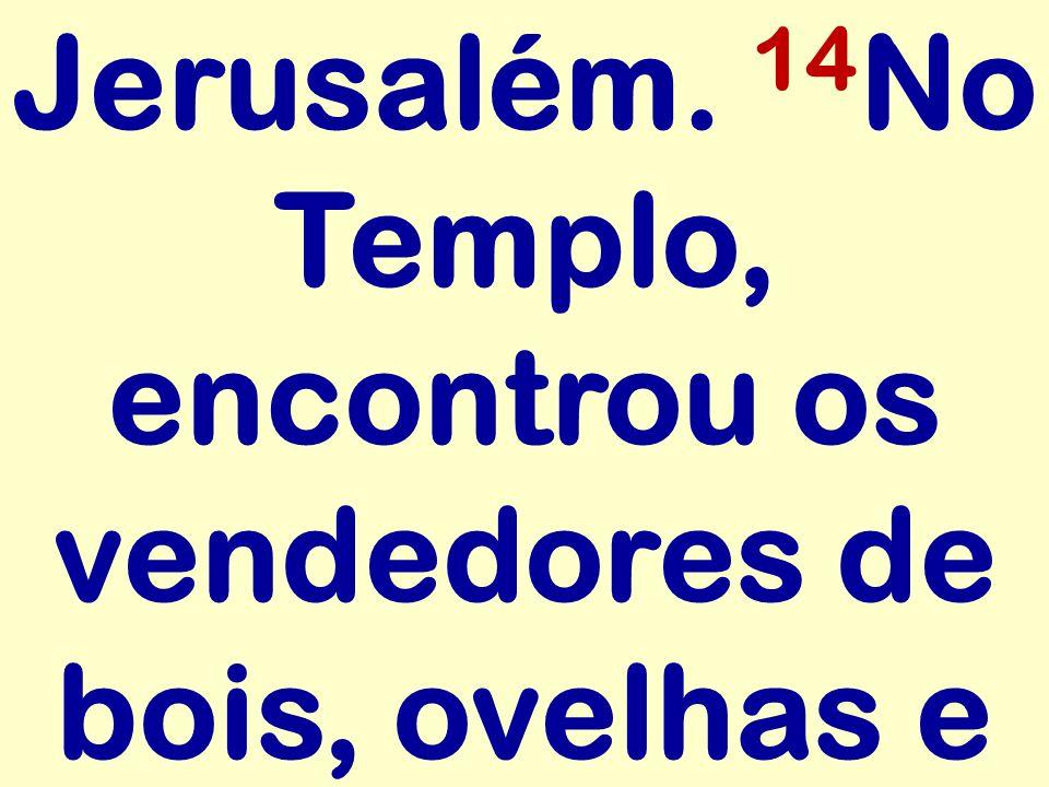Jerusalém. 14 No Templo, encontrou os vendedores de bois, ovelhas e
