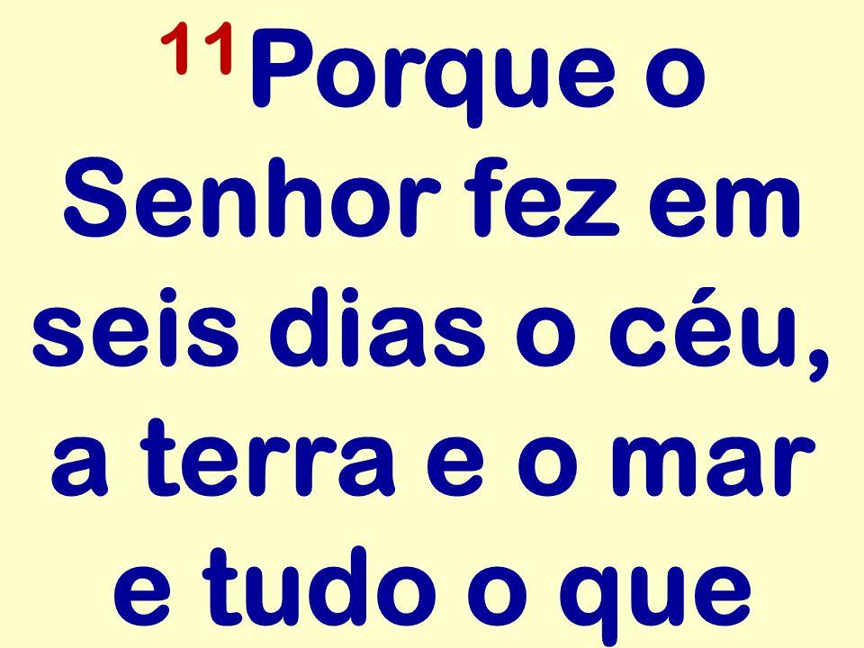 11 Porque o Senhor fez em seis dias o céu, a terra e o mar e tudo o que