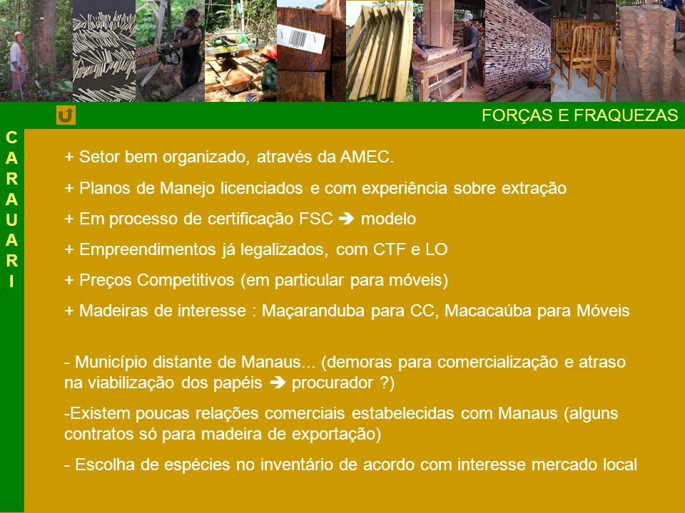 FORÇAS E FRAQUEZAS + Setor bem organizado, através da AMEC.