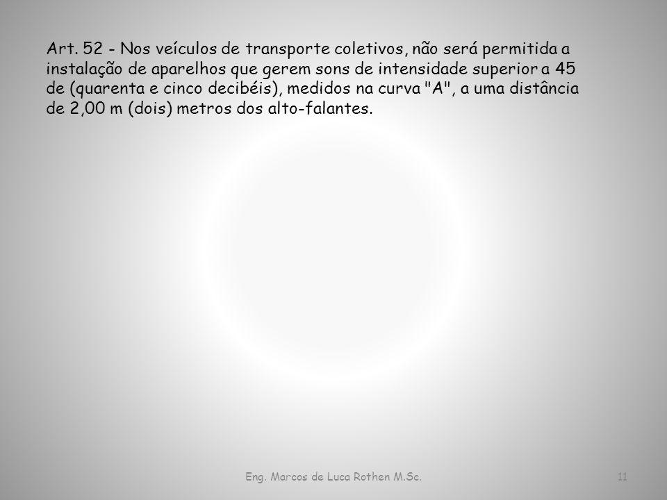 Eng. Marcos de Luca Rothen M.Sc.11 Art. 52 - Nos veículos de transporte coletivos, não será permitida a instalação de aparelhos que gerem sons de inte