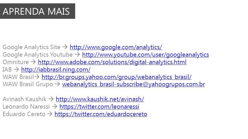 APRENDA MAIS Google Analytics Site http://www.google.com/analytics/http://www.google.com/analytics/ Google Analytics Youtube http://www.youtube.com/us
