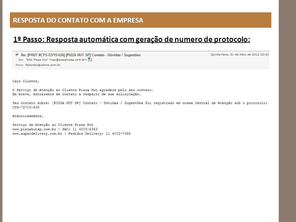 RESPOSTA DO CONTATO COM A EMPRESA 1º Passo: Resposta automática com geração de numero de protocolo: