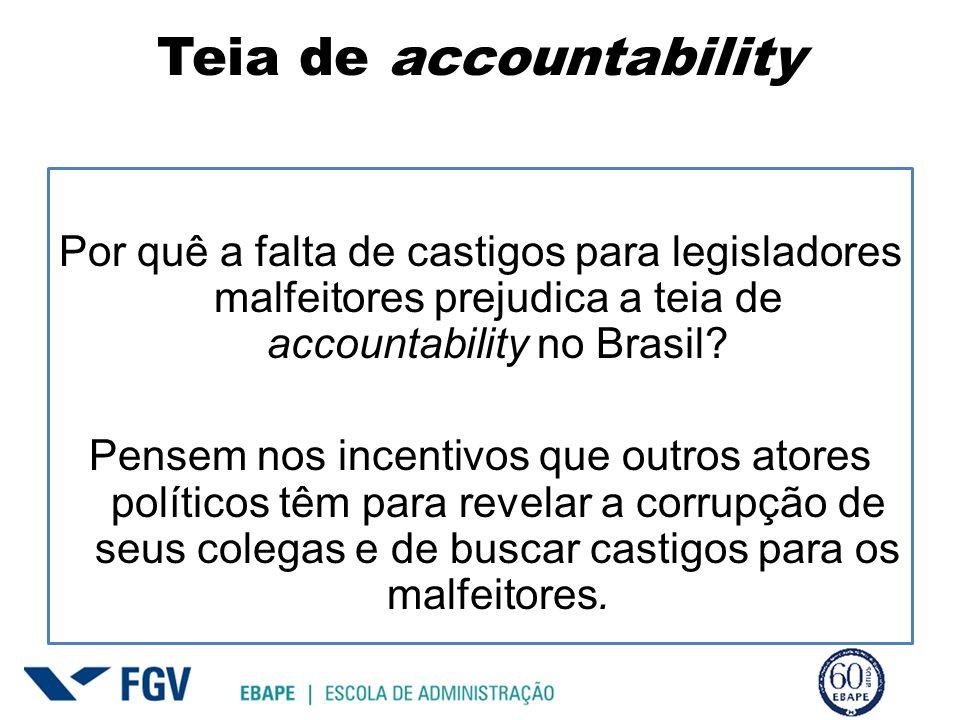 Teia de accountability Por quê a falta de castigos para legisladores malfeitores prejudica a teia de accountability no Brasil? Pensem nos incentivos q
