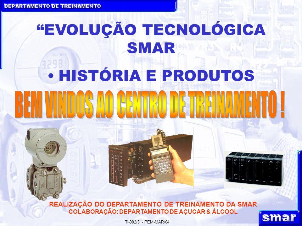 DEPARTAMENTO DE TREINAMENTO TI-002/3 - PEM-MAR/04 REALIZAÇÃO DO DEPARTAMENTO DE TREINAMENTO DA SMAR COLABORAÇÃO: DEPARTAMENTO DE AÇUCAR & ÁLCOOL EVOLUÇÃO TECNOLÓGICA SMAR HISTÓRIA E PRODUTOS