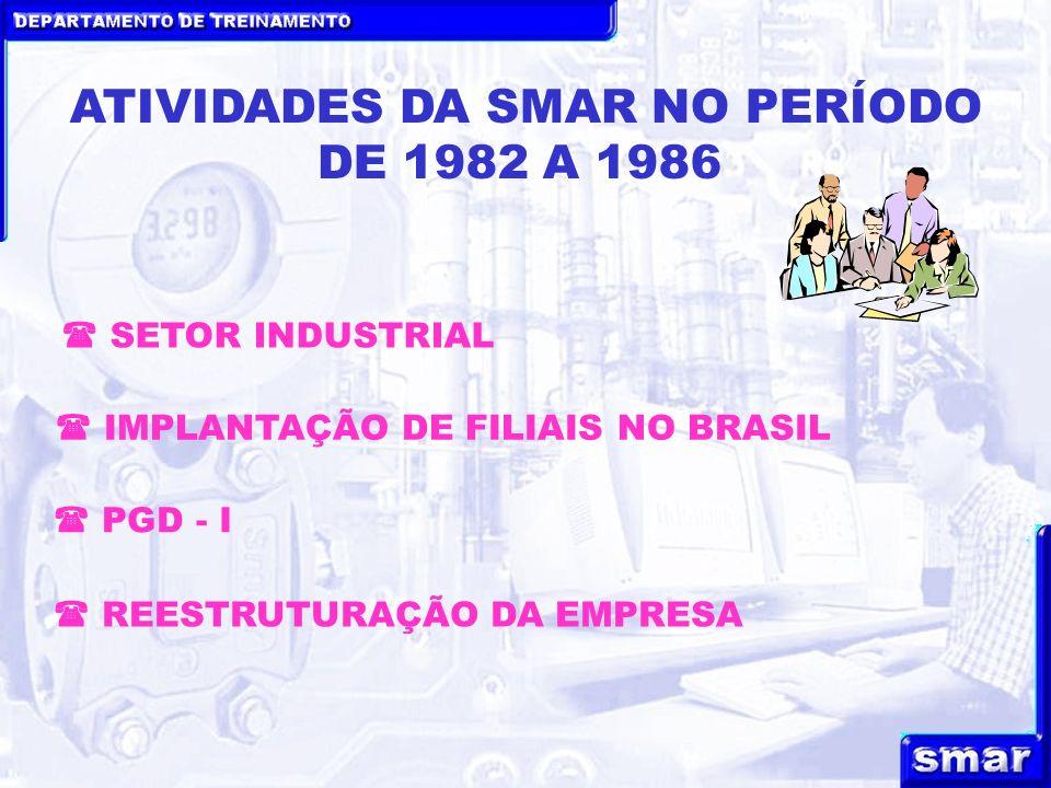 DEPARTAMENTO DE TREINAMENTO ATIVIDADES DA SMAR NO PERÍODO DE 1982 A 1986 PGD - I IMPLANTAÇÃO DE FILIAIS NO BRASIL REESTRUTURAÇÃO DA EMPRESA SETOR INDU