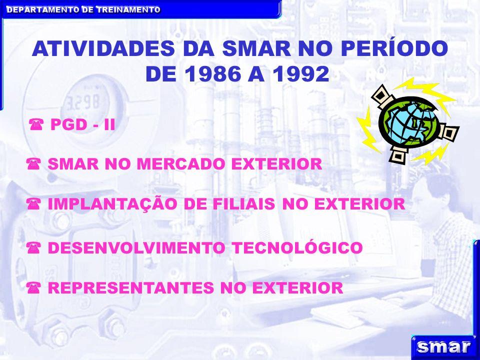 DEPARTAMENTO DE TREINAMENTO ATIVIDADES DA SMAR NO PERÍODO DE 1986 A 1992 IMPLANTAÇÃO DE FILIAIS NO EXTERIOR SMAR NO MERCADO EXTERIOR DESENVOLVIMENTO T
