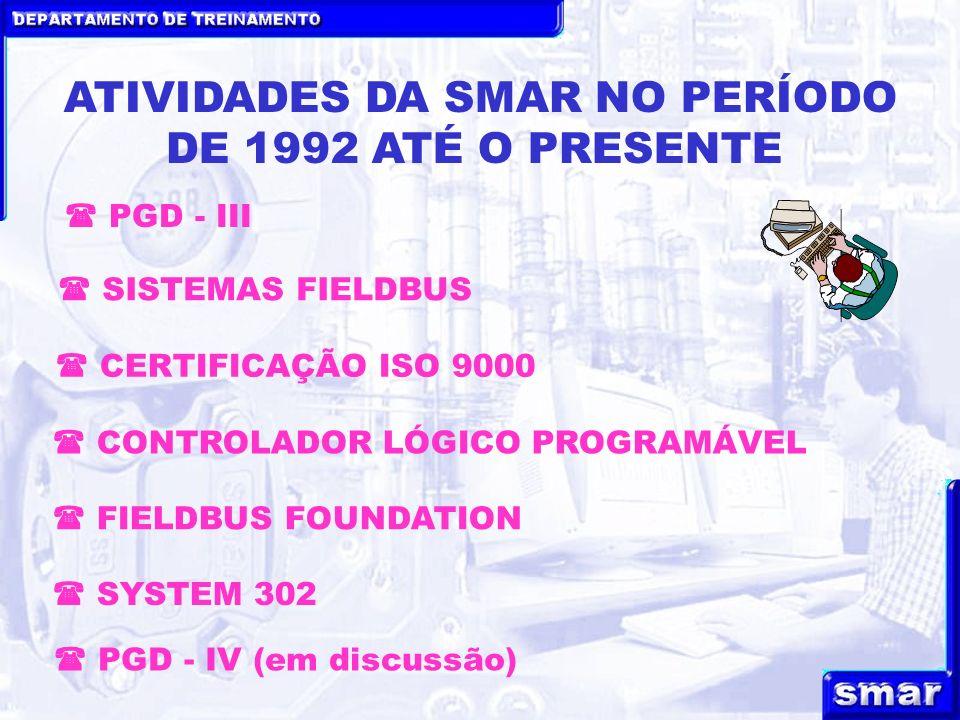DEPARTAMENTO DE TREINAMENTO ATIVIDADES DA SMAR NO PERÍODO DE 1992 ATÉ O PRESENTE CERTIFICAÇÃO ISO 9000 SISTEMAS FIELDBUS CONTROLADOR LÓGICO PROGRAMÁVEL PGD - III FIELDBUS FOUNDATION SYSTEM 302 PGD - IV (em discussão)
