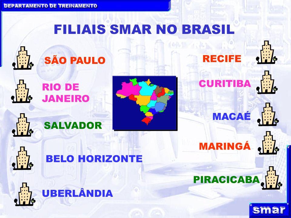 DEPARTAMENTO DE TREINAMENTO FILIAIS SMAR NO BRASIL BELO HORIZONTE RIO DE JANEIRO SALVADOR SÃO PAULO RECIFE MARINGÁ MACAÉ CURITIBA UBERLÂNDIA PIRACICABA