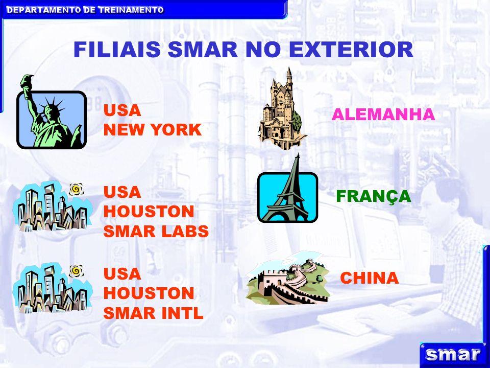DEPARTAMENTO DE TREINAMENTO FILIAIS SMAR NO EXTERIOR USA NEW YORK ALEMANHA CHINA FRANÇA USA HOUSTON SMAR LABS USA HOUSTON SMAR INTL