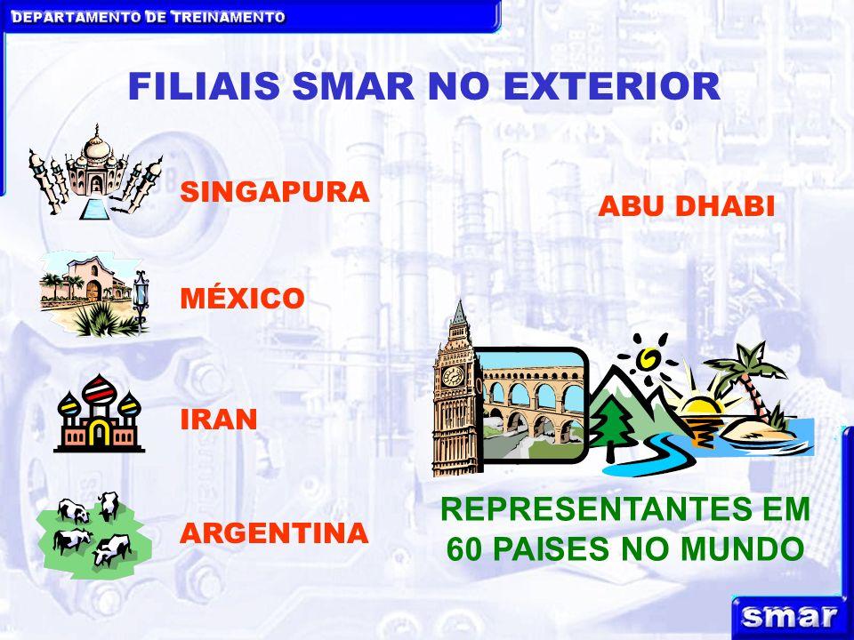 DEPARTAMENTO DE TREINAMENTO FILIAIS SMAR NO EXTERIOR SINGAPURA MÉXICO IRAN REPRESENTANTES EM 60 PAISES NO MUNDO ARGENTINA ABU DHABI