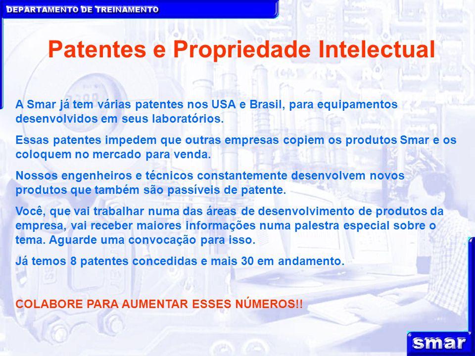 DEPARTAMENTO DE TREINAMENTO Patentes e Propriedade Intelectual A Smar já tem várias patentes nos USA e Brasil, para equipamentos desenvolvidos em seus