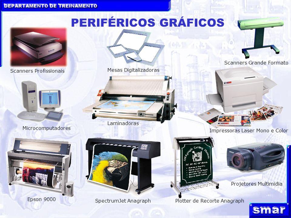DEPARTAMENTO DE TREINAMENTO PERIFÉRICOS GRÁFICOS Mesas Digitalizadoras Scanners Profissionais Scanners Grande Formato Projetores Multimídia Microcompu