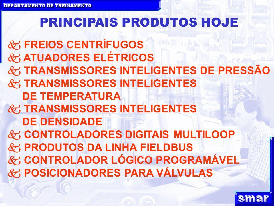 DEPARTAMENTO DE TREINAMENTO PRINCIPAIS PRODUTOS HOJE FREIOS CENTRÍFUGOS ATUADORES ELÉTRICOS TRANSMISSORES INTELIGENTES DE PRESSÃO TRANSMISSORES INTELIGENTES DE TEMPERATURA TRANSMISSORES INTELIGENTES DE DENSIDADE CONTROLADORES DIGITAIS MULTILOOP PRODUTOS DA LINHA FIELDBUS CONTROLADOR LÓGICO PROGRAMÁVEL POSICIONADORES PARA VÁLVULAS