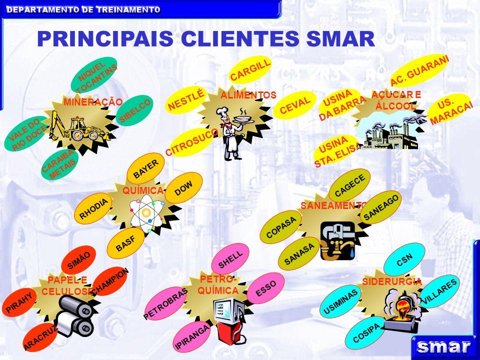 PRINCIPAIS CLIENTES SMAR VALE DO RIO DOCE MINERAÇÃO NIQUEL TOCANTINS SIBELCO CARAIBA METAIS ALIMENTOS CARGILL CEVAL CITROSUCO NESTLÉ AÇUCAR E ÁLCOOL AC.