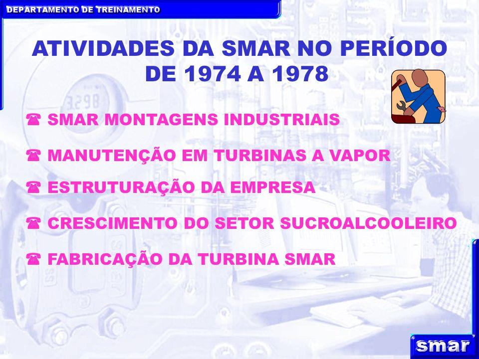 DEPARTAMENTO DE TREINAMENTO ATIVIDADES DA SMAR NO PERÍODO DE 1974 A 1978 ESTRUTURAÇÃO DA EMPRESA MANUTENÇÃO EM TURBINAS A VAPOR CRESCIMENTO DO SETOR SUCROALCOOLEIRO FABRICAÇÃO DA TURBINA SMAR SMAR MONTAGENS INDUSTRIAIS