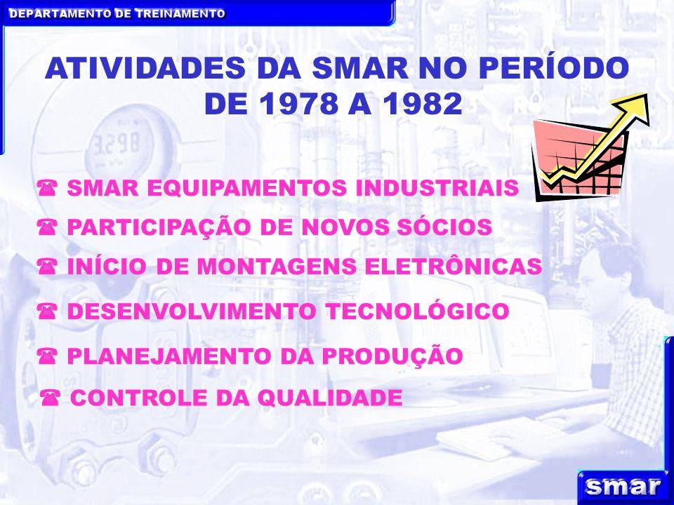 DEPARTAMENTO DE TREINAMENTO ATIVIDADES DA SMAR NO PERÍODO DE 1978 A 1982 INÍCIO DE MONTAGENS ELETRÔNICAS PARTICIPAÇÃO DE NOVOS SÓCIOS DESENVOLVIMENTO TECNOLÓGICO PLANEJAMENTO DA PRODUÇÃO SMAR EQUIPAMENTOS INDUSTRIAIS CONTROLE DA QUALIDADE