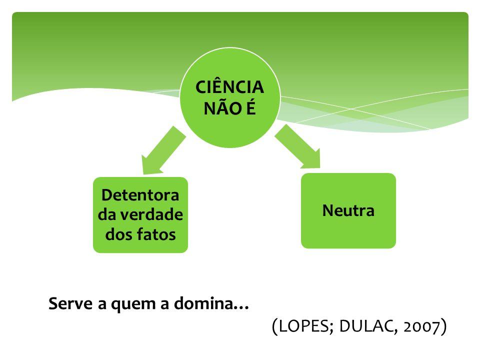 CIÊNCIA NÃO É Detentora da verdade dos fatos Neutra Serve a quem a domina… (LOPES; DULAC, 2007)