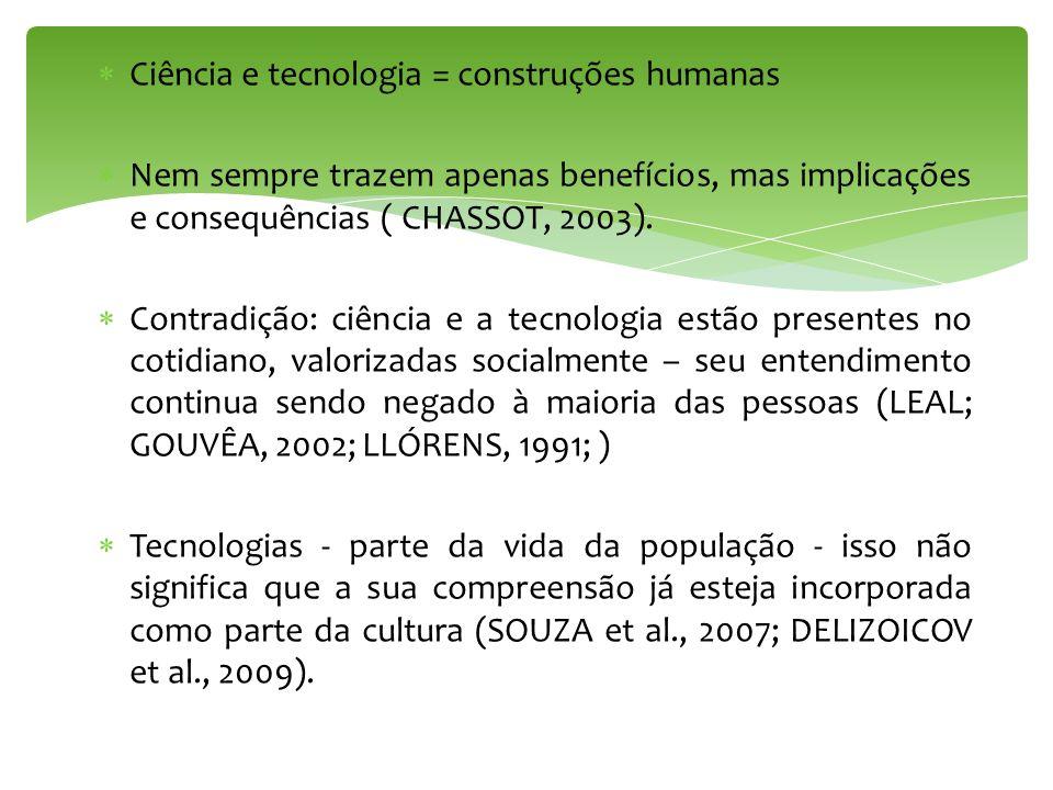 Ciência e tecnologia = construções humanas Nem sempre trazem apenas benefícios, mas implicações e consequências ( CHASSOT, 2003). Contradição: ciência